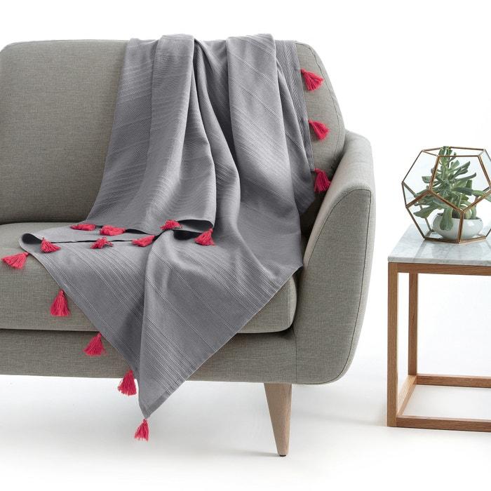 plaid pompons riad la redoute interieurs gris pompons. Black Bedroom Furniture Sets. Home Design Ideas