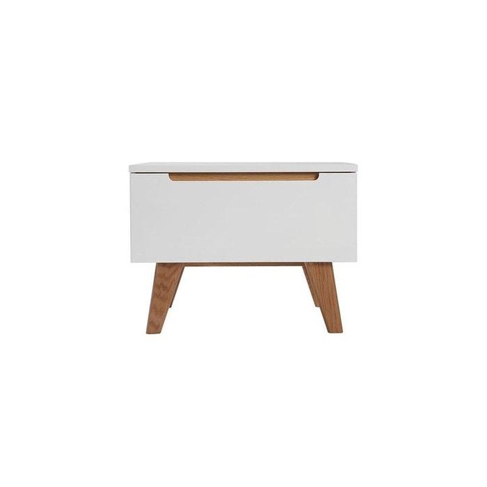 Table de chevet scandinave blanc brillant et fr ne melka blanc miliboo la redoute - Table de chevet la redoute ...