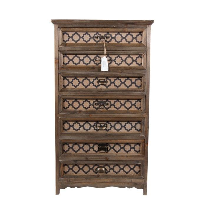 meuble semainier chiffonnier grainetier bois 7 tiroirs marron decoration d. Black Bedroom Furniture Sets. Home Design Ideas