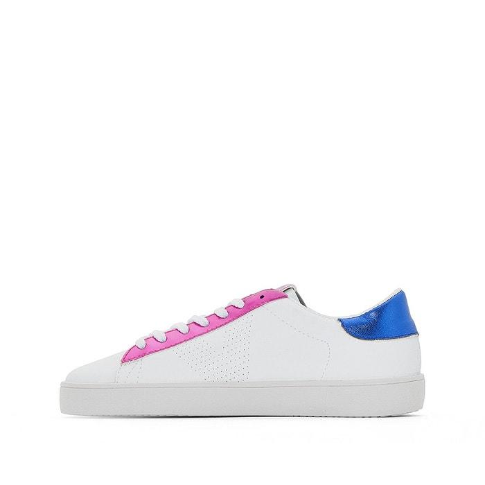 Baskets deportivo piel metalizado blanc/rose fluo Victoria
