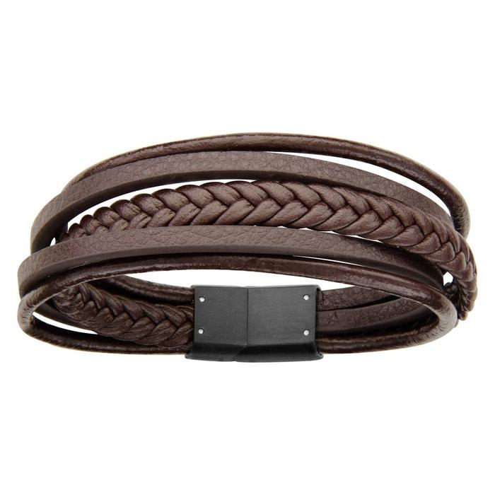 Bracelet 20 cm cuir marron fils acier inoxydable couleur unique So Chic Bijoux | La Redoute Prix Pas Cher Classique Prix De Gros Prix Pas Cher Amazone Discount utnvij
