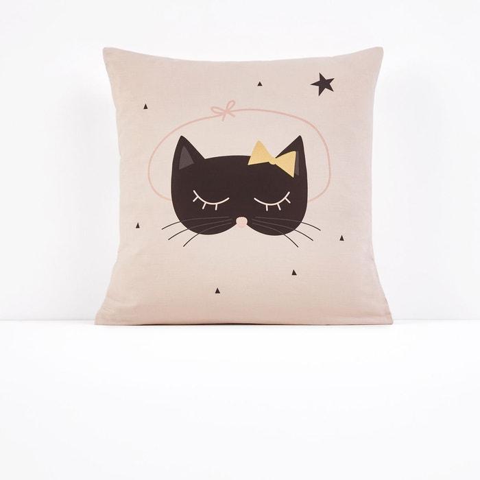 taie d oreiller imprim e cat op ra rose noir la redoute. Black Bedroom Furniture Sets. Home Design Ideas