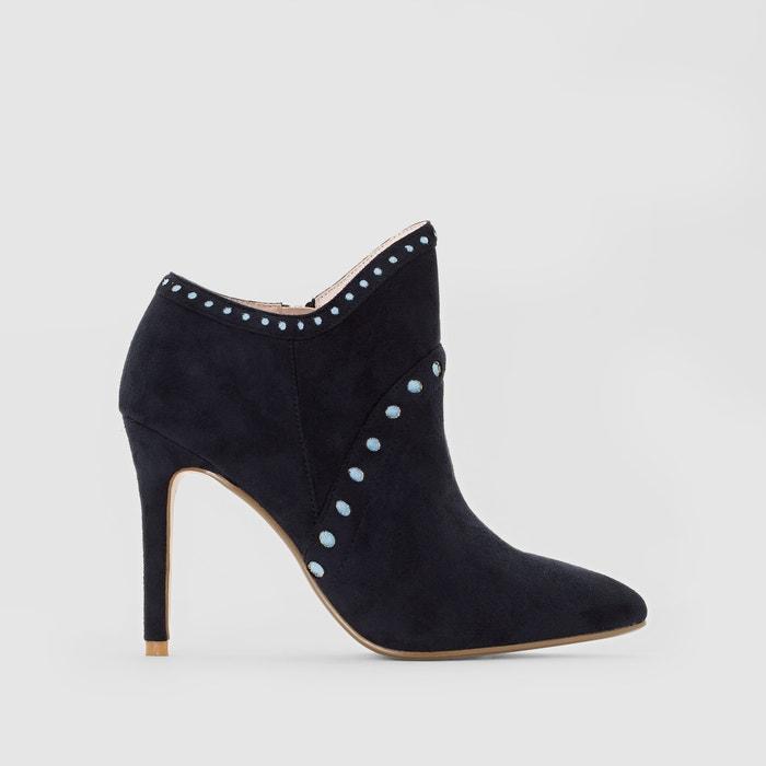 boots cuir talon aiguille mademoiselle r navy la redoute. Black Bedroom Furniture Sets. Home Design Ideas