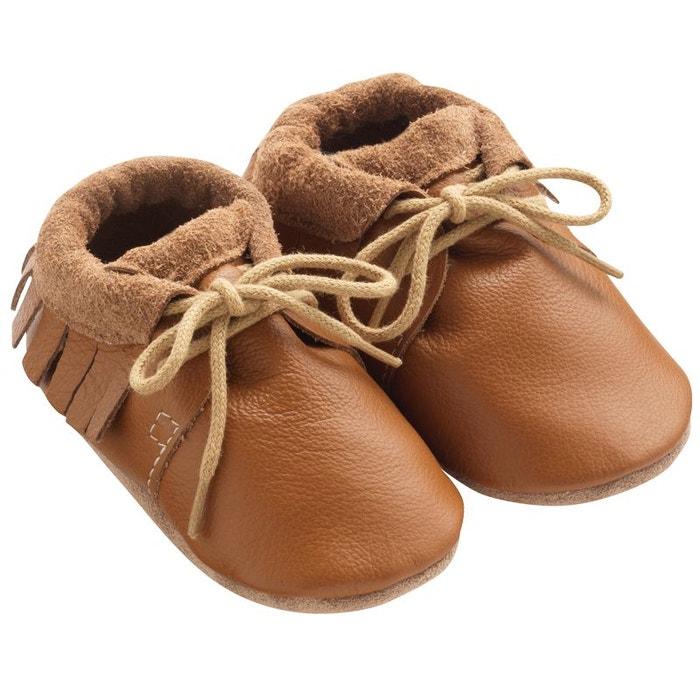 78d74669e3cb2 Chaussures bébé cuir souple tilou à franges marron Tichoups