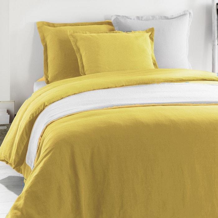 drap housse metis lin coton jaune moutarde jaune moutarde c design home la redoute. Black Bedroom Furniture Sets. Home Design Ideas
