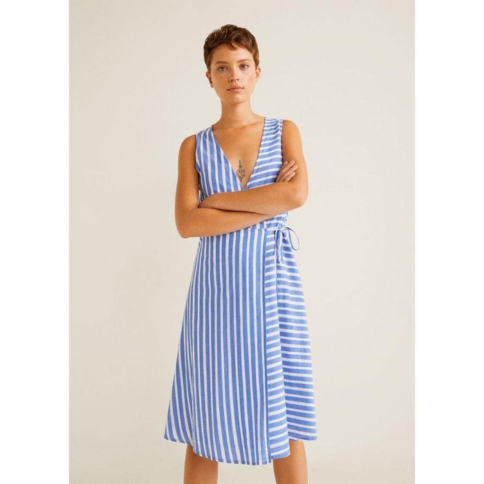 1a56f3b9dc346 Robe coton à rayures bleu marine Mango