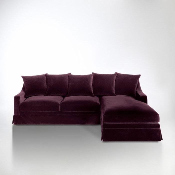 afbeelding Hoekcanapé in fluweel, vast model, superieur comfort, Evender La Redoute Interieurs