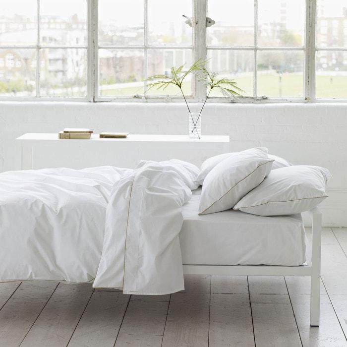 drap plat union square en percale de coton gold blanc. Black Bedroom Furniture Sets. Home Design Ideas