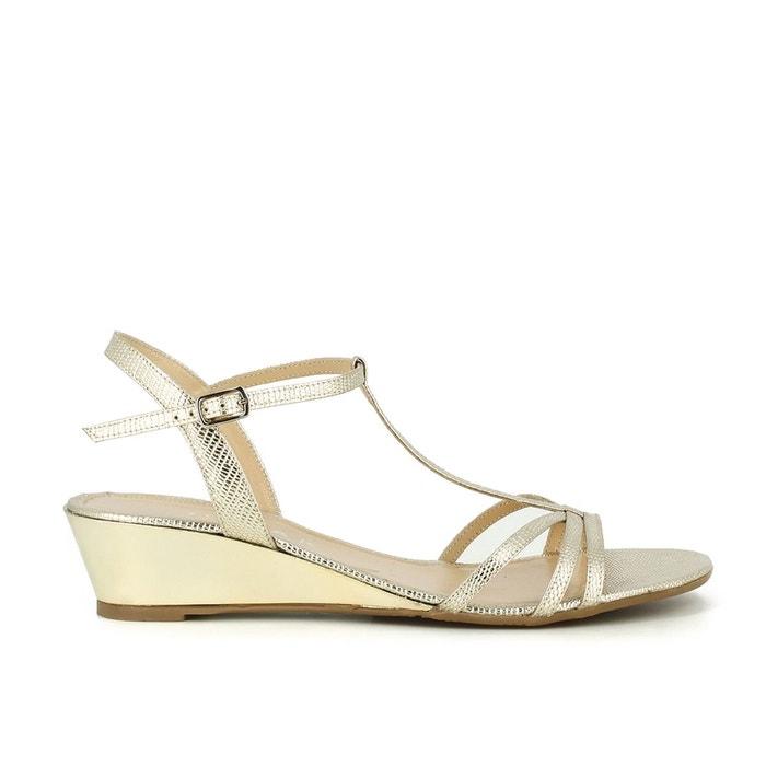 Sandales compensées, cuir coloris doré platine Jonak