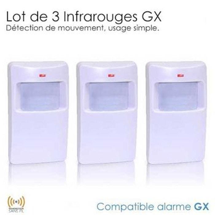 Pack de 3 d tecteurs infrarouge sans fil gx couleur unique for Alarme maison securite good deal