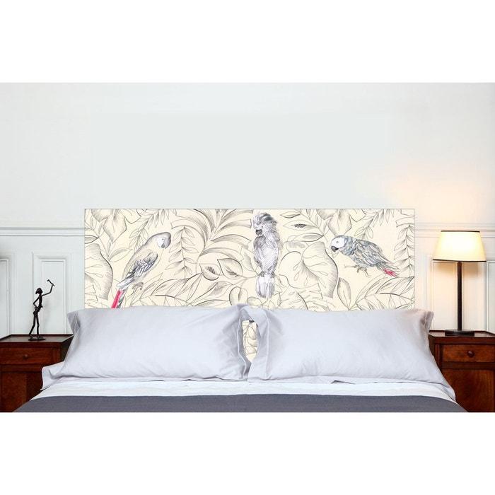 Tête de lit en tissu perroquets beige clair Mademoiselle