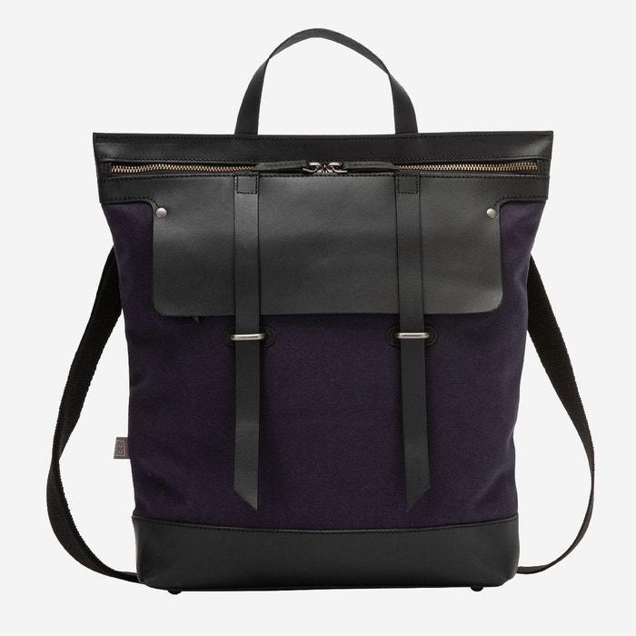 super populaire 39251 ae553 Grand sac à dos femme et homme en cuir et toile bicolore avec fermeture à  glissière et bretelles amovibles
