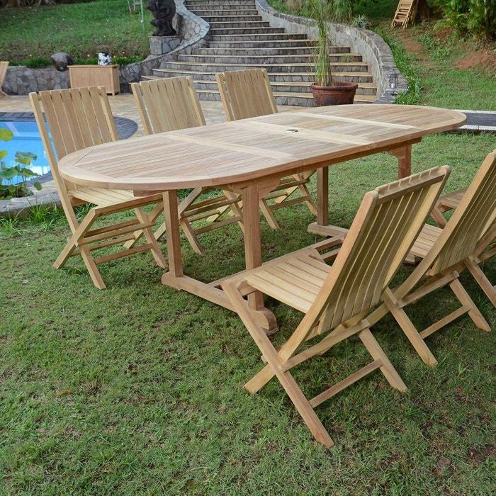 Salon de jardin en teck Ecograde Toga, table extensible avec 6 chaises  Karimun