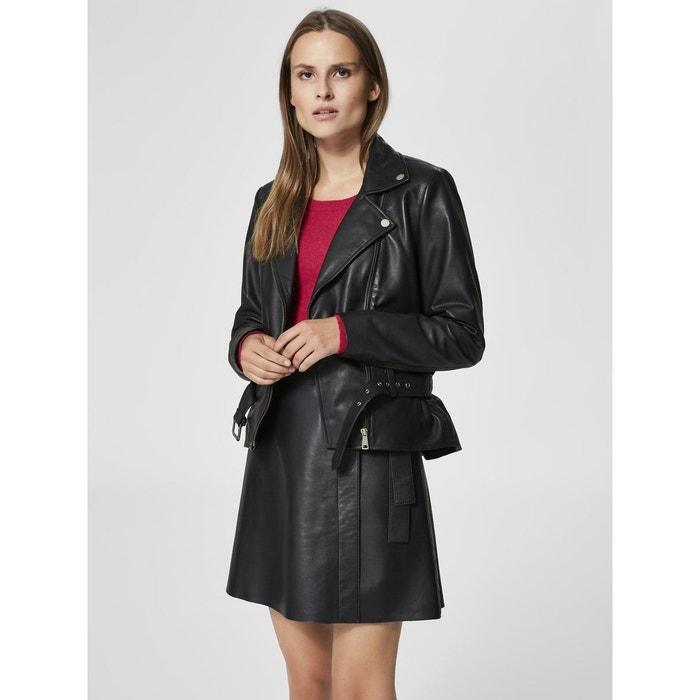 Veste en cuir classique - black Selected Femme   La Redoute a178bc02e641