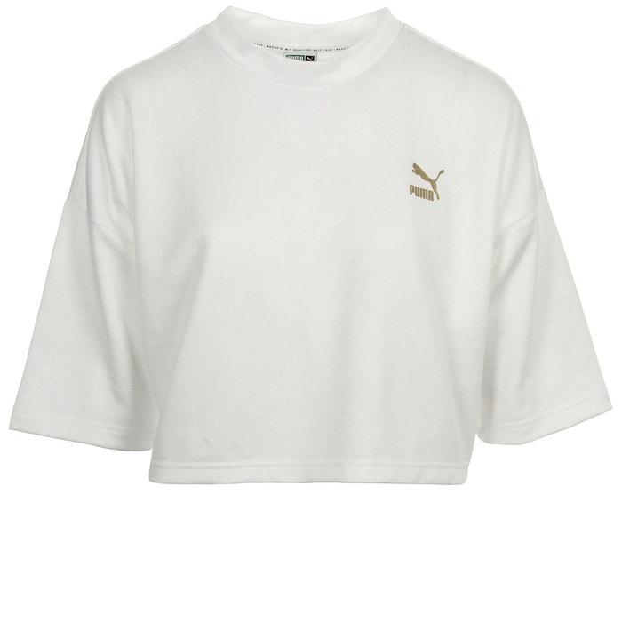 3f1193959b T-shirt retro crop top blanc - doré Puma | La Redoute