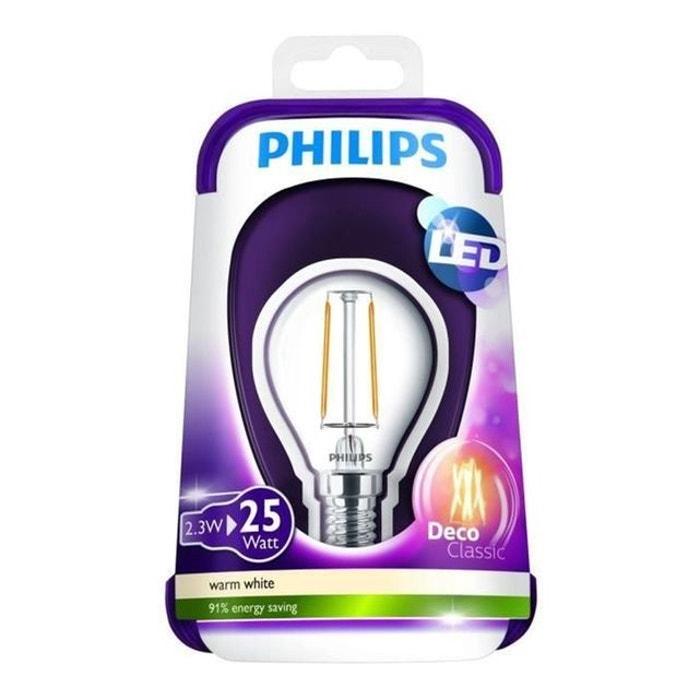 Philips 3w Ampoule Sphérique Claire 2 Équivalence 25w E14 Filament Led Ww 1pp4 Qrsthd