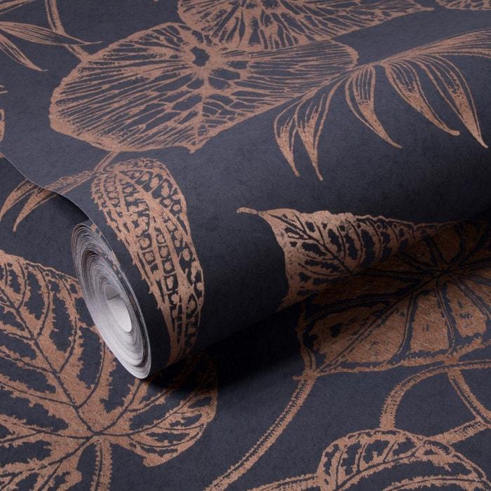 Papier peint intissé feuilles fibre bleu 10 m x 52 cm bleu Graham