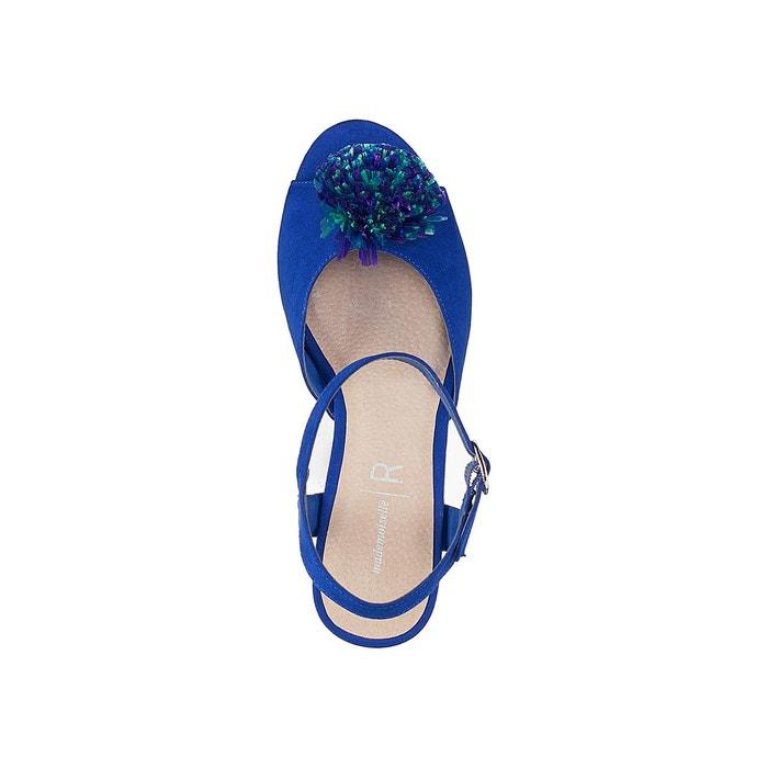 Sandales détail pompons talon flare bleu Mademoiselle R