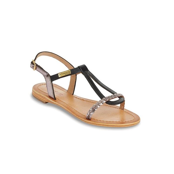 Sandales cuir plates hatress noir Les Tropeziennes Par M Belarbi