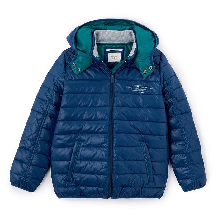 3e64f15d8f7 Doudoune à capuche amovible 8-16 ans bleu Pepe Jeans