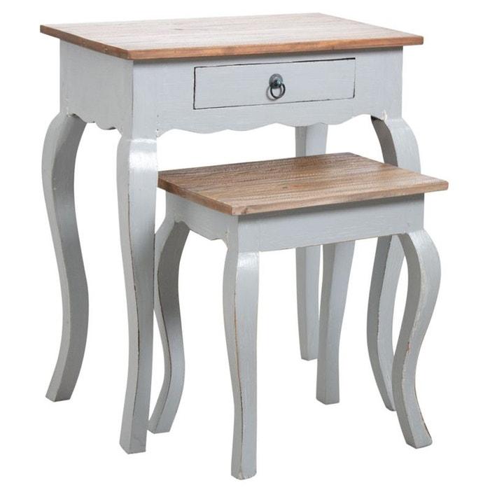 tables gigognes en bois gris antique gris aubry gaspard. Black Bedroom Furniture Sets. Home Design Ideas