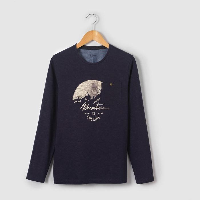"""Image T-shirt """"montagne"""" manches longues 10-16 ans La Redoute Collections"""