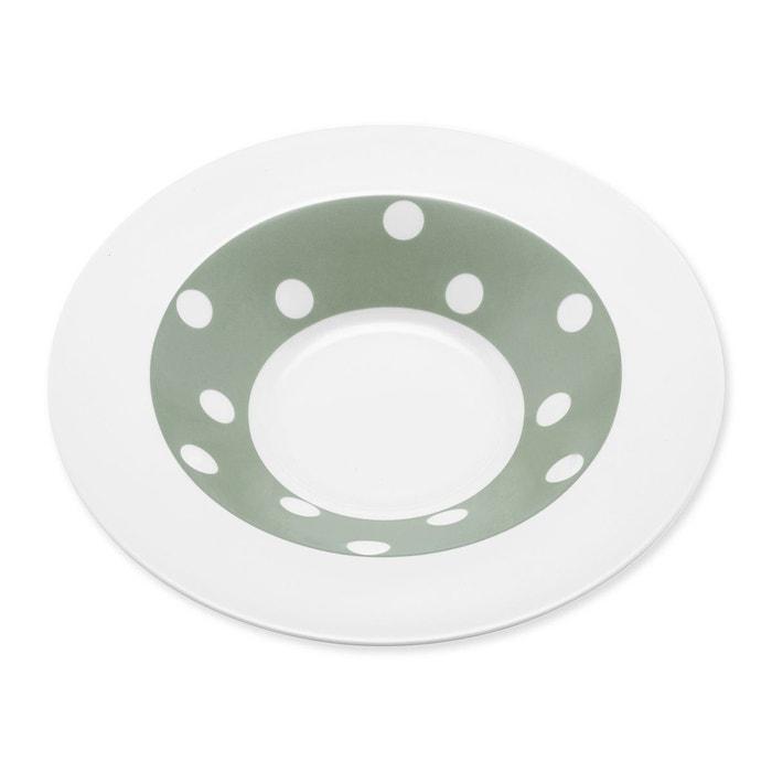 Assiette creuse à pois vert sauge en porcelaine 24cm - Lot de 6 - FRESHNESS DOTS  BRUNO EVRARD image 0