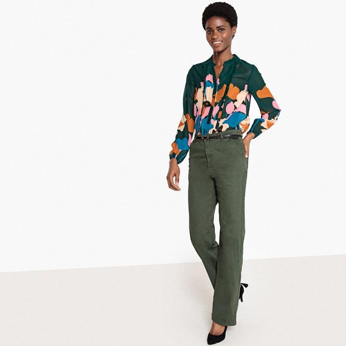 estampado de Collections peque Camisa mao cuello La flores con volantes Redoute os y 0vEwY