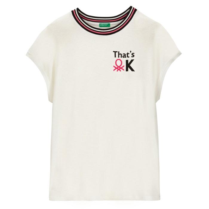 da5f744d763daf T-shirt mit rundem ausschnitt und motiv vorne ecru Benetton