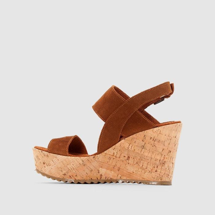 Sandales compensées liège tan Bunker