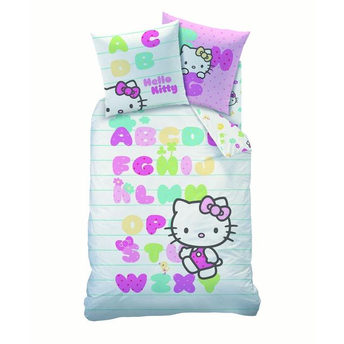 housse de couette 1 place 1 taie d 39 oreiller hello kitty 100 coton blanc hello kitty la redoute. Black Bedroom Furniture Sets. Home Design Ideas
