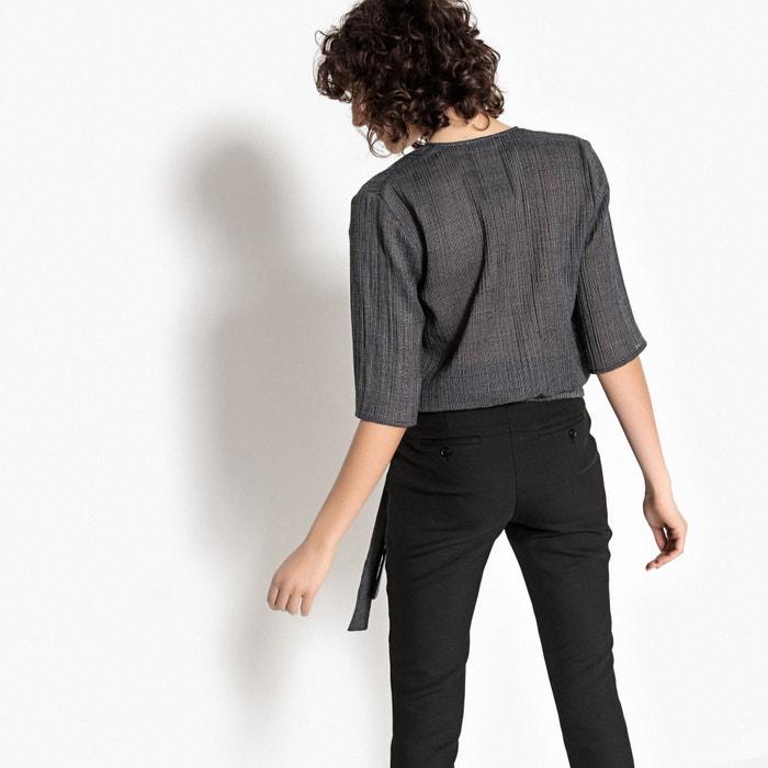 lacito con cruzada Blusa en Collections cintura la La Redoute 6CqwTHwZ