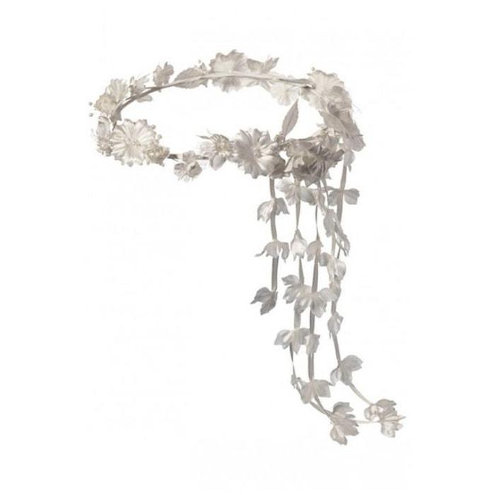 Couronne Fille de Cérémonie fleurs et perles coloris blanc ou écru DYMASTYLE