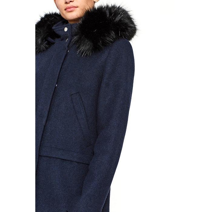 Abrigo mujer con capucha con contorno de pelo sint azul marino Esprit  b19ed66f8ecc