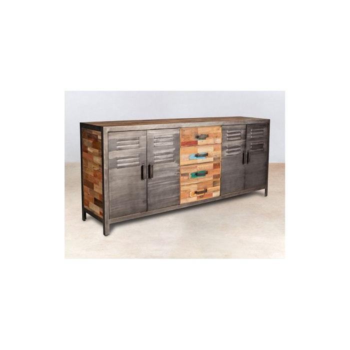 buffet en bois recycl et m tal l200cm caravelle bois pier. Black Bedroom Furniture Sets. Home Design Ideas