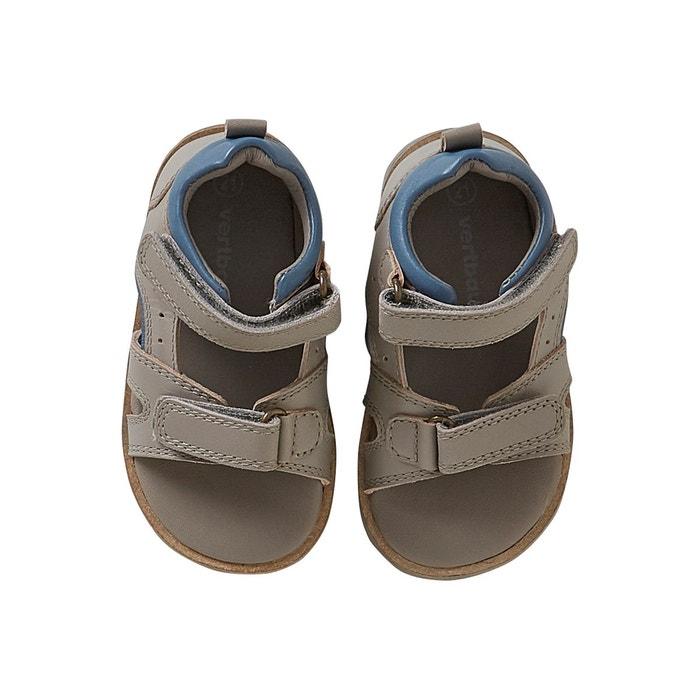 149adff13bdc4 Sandales scratchées bébé garçon en cuir gris Vertbaudet