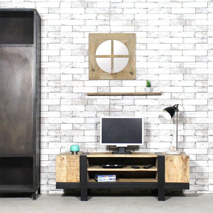 meuble tv industriel en bois bross tbimtv 1801 4 marron. Black Bedroom Furniture Sets. Home Design Ideas