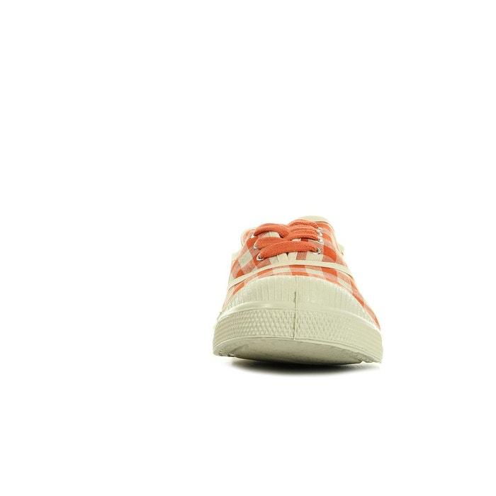Tennis vichy lin corail rouge/blanc Bensimon