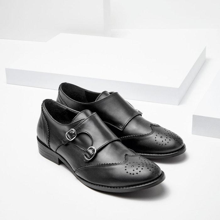 Derbies cuir détail boucles noir La Redoute Collections