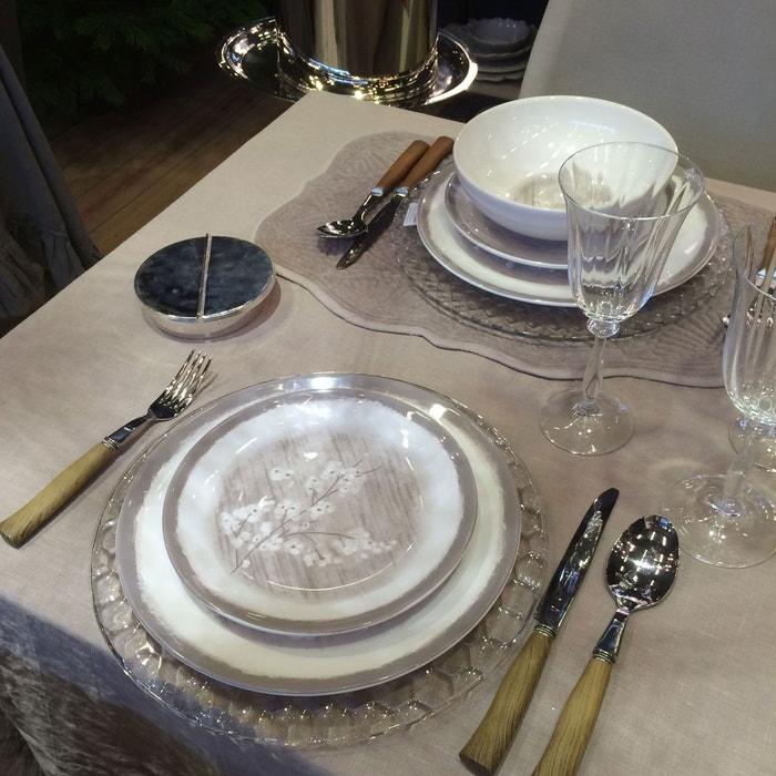 2 assiettes dessert fleurs de pommier grises en porcelaine couleur unique cote table la. Black Bedroom Furniture Sets. Home Design Ideas