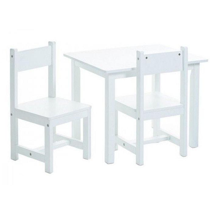 Table Et 2 Chaises Enfant Blanc Zeller Present