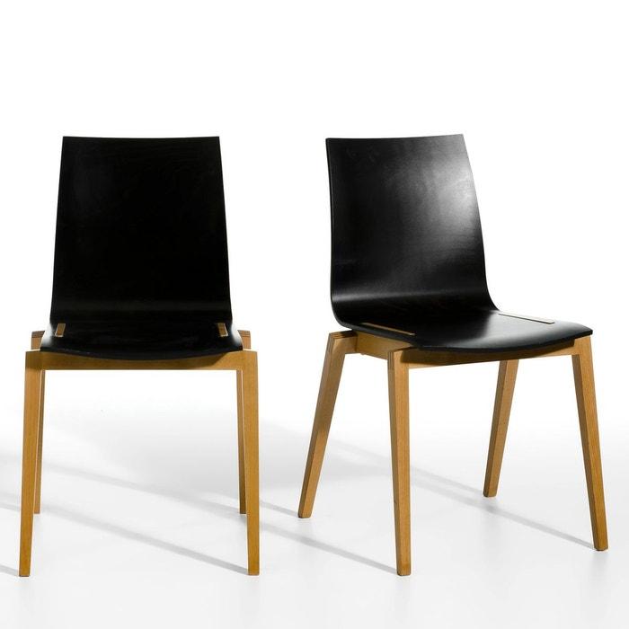 chaise h tre massif soumam lot de 2 noir pied naturel am pm la redoute. Black Bedroom Furniture Sets. Home Design Ideas