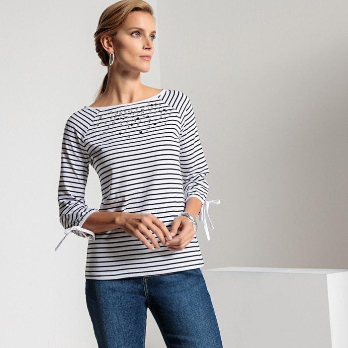 T-shirt a righe, collo a barchetta, maniche a 3/4  ANNE WEYBURN image 0