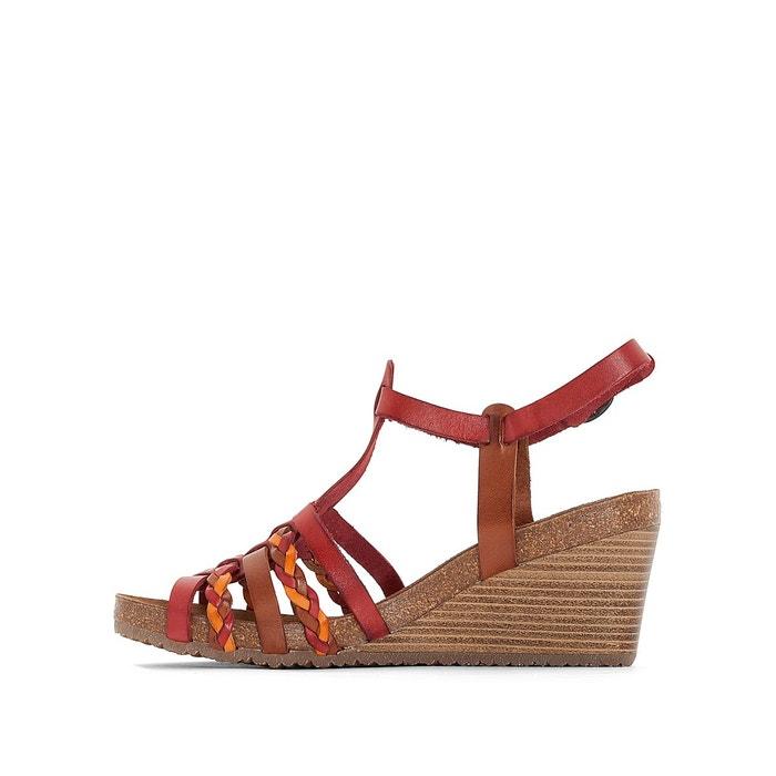 Sandales cuir compensées spainy rouge Kickers