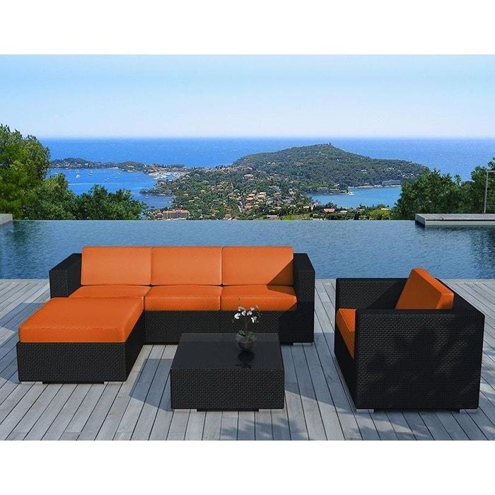 Salon de jardin 6 éléments en résine noire coussins orange orange ...
