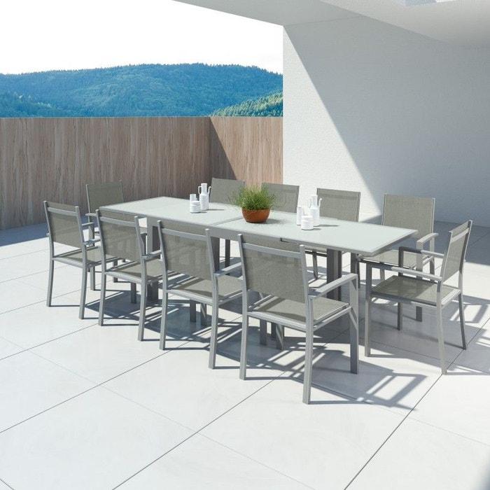 Table de jardin extensible, aluminium, 140/280cm, 10 fauteuils textilène,  HARA XL