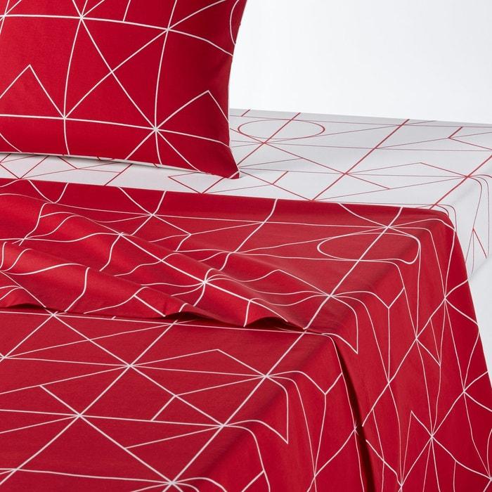 drap plat pur coton vidmey rouge la redoute interieurs la redoute. Black Bedroom Furniture Sets. Home Design Ideas