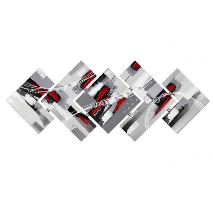 Tableau abstrait assemblage en 5 pi ces 142x57cm coloris - Tableau rose et gris ...