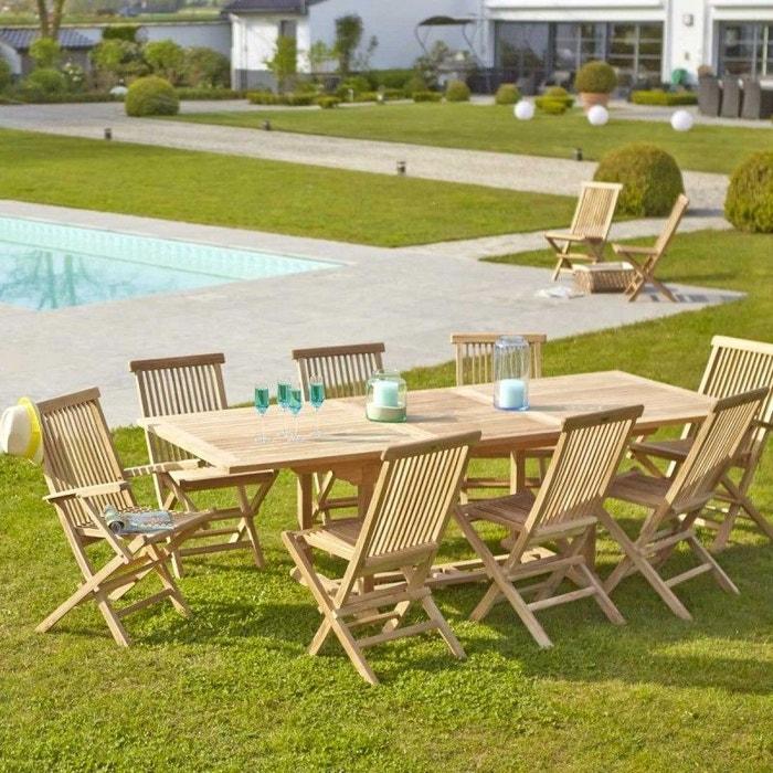 Table de jardin en bois de teck avec rallonge 8 à 10 places