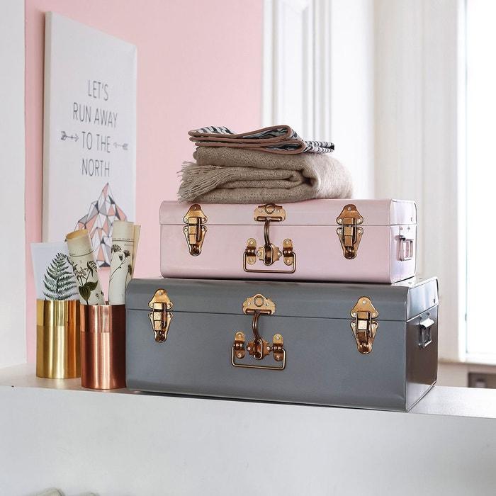 malle cantine m tal elori lot de 2 gris rose cuivre la redoute interieurs la redoute. Black Bedroom Furniture Sets. Home Design Ideas